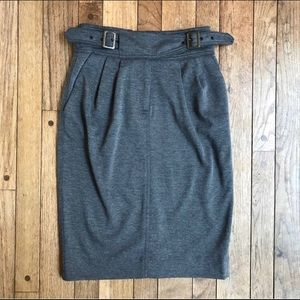 Anthro Maeve Charcoal Gray Pencil Skirt Sz 0 *L27